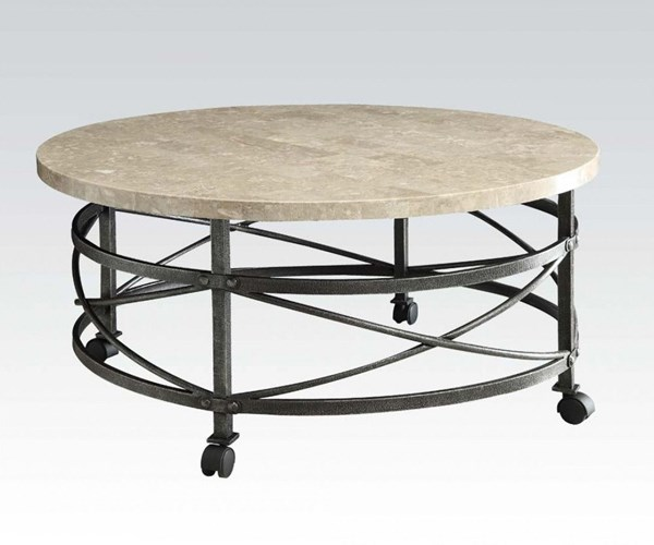 Nestor Antique Black Marble Metal Coffee Table ACM-80440