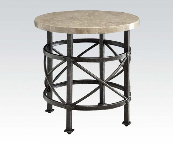 Nestor Antique Black Marble Metal End Table ACM-80442