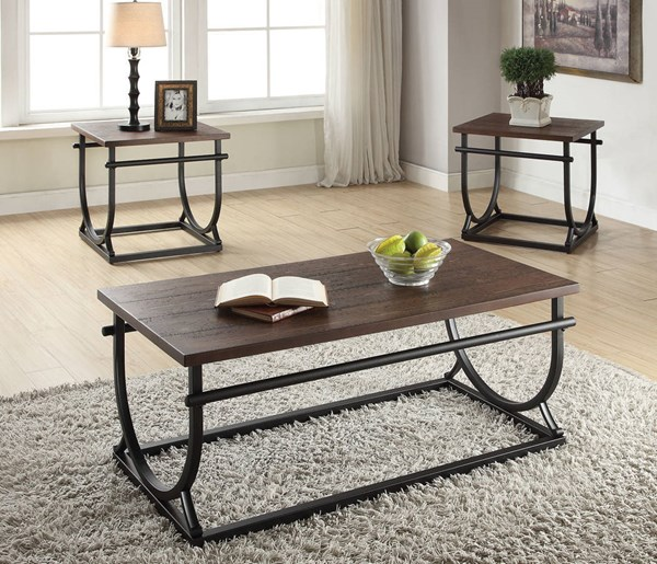 Debbie Cherry Black Wood Metal Coffee Table Set ACM-80455-OCT