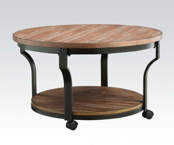 Black Oak Round Coffee Table: Acme Furniture Geoff Oak Coffee Table