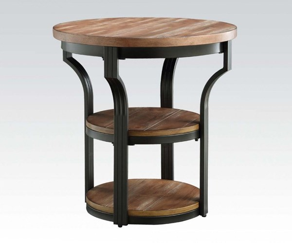 Geoff Oak Black Wood Metal Round End Table ACM-80461