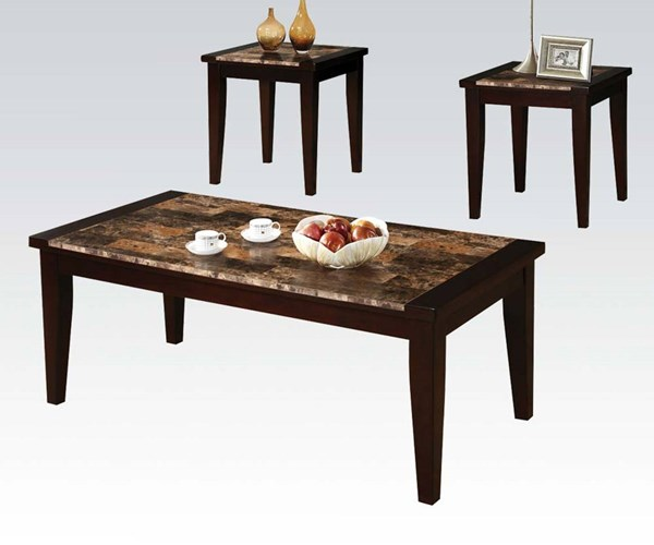denzil espresso wood faux marble 3 pc pack coffee end table set the classy home. Black Bedroom Furniture Sets. Home Design Ideas