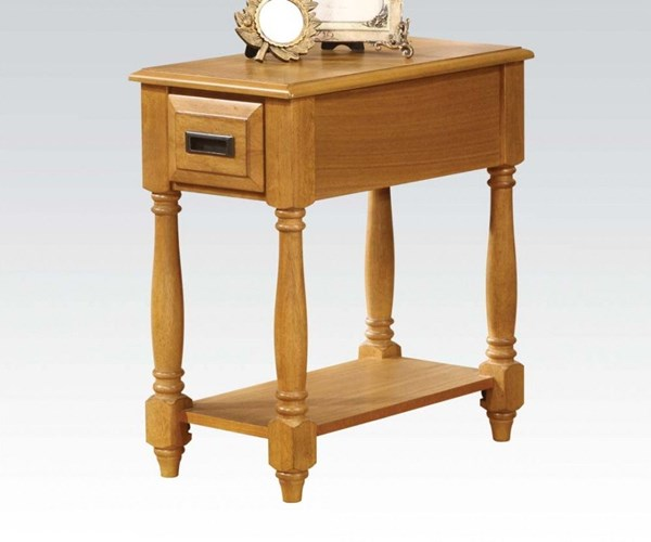 Qrabard Light Oak Wood Side Table w/Bottom Shelf ACM-80510