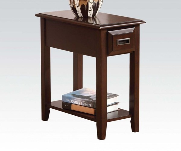 Flin Dark Cherry Wood Rectangular Side Table w/Drawer & Bottom Shelf ACM-80518