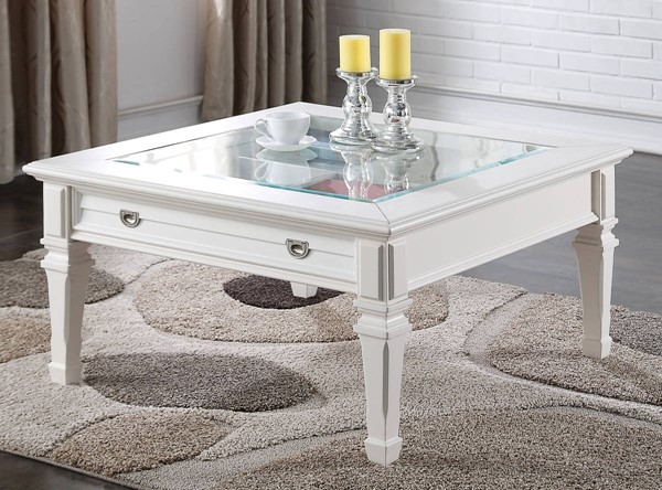 Acme Furniture Adalyn Modern White Glass Top Coffee Table ACM-80530