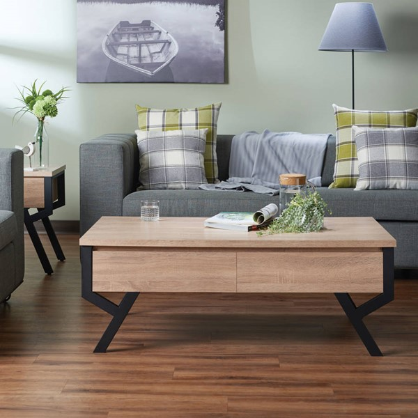Acme Furniture Kalina Rustic Natural 3pc Coffee Table Set ACM-805-OCT-S1
