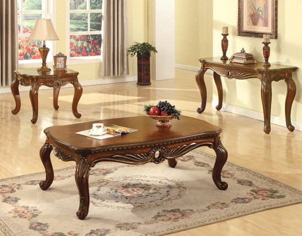 Dorothea Traditional Cherry Wood Coffee Table Set ACM-80590-92-B1