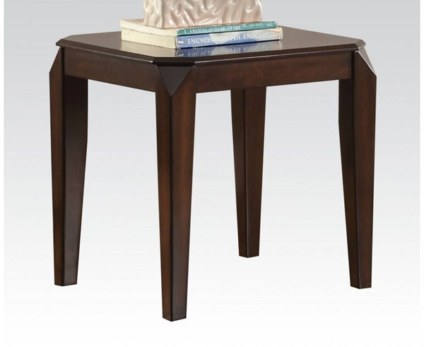 Docila Walnut Wood Square End Table W/Legs ACM-80662