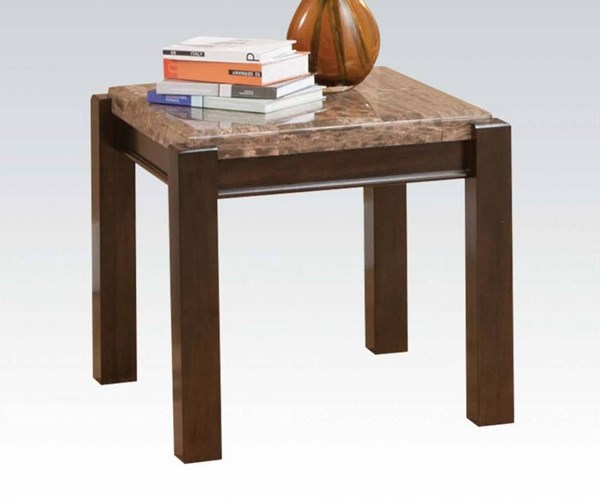 Dwayne Gray Marble Wood Square End Table ACM-80792