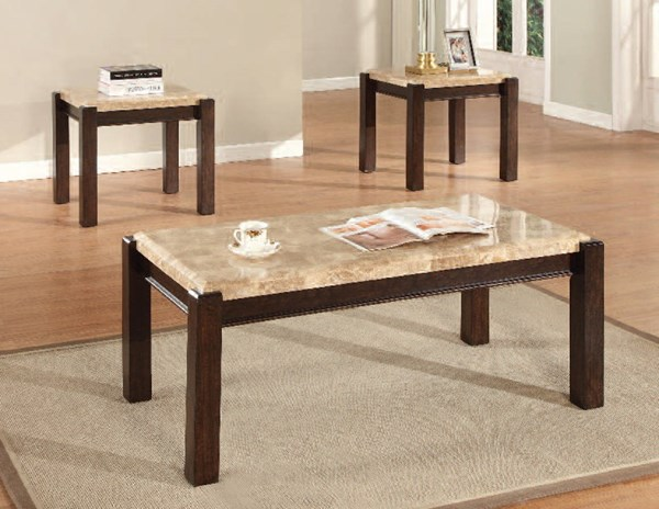 Charissa Light Brown Wood Marble Coffee Table Set ACM-80793-94-OCT