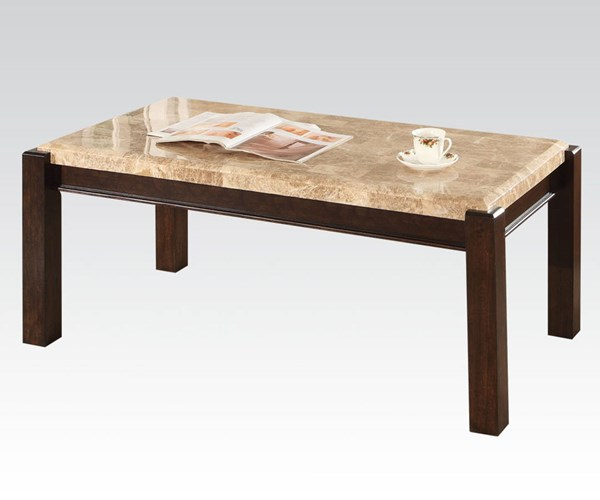 Charissa Light Brown Wood Marble Coffee Table ACM-80793