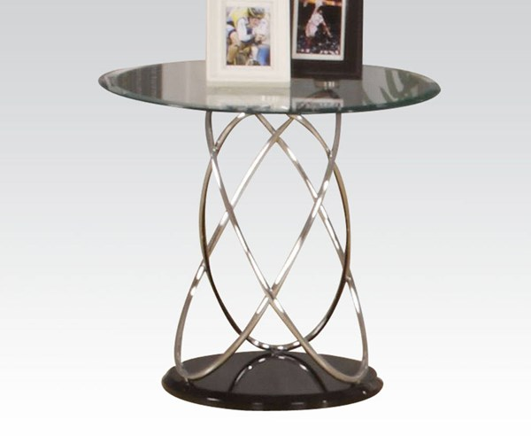 Deron Black Chrome Glass Wood Steel End Table ACM-80798
