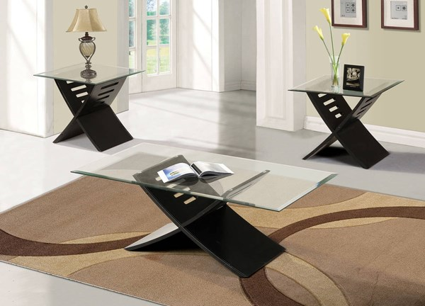 Elhan Black Wood Glass 3pc Coffee Table Set ACM-80830