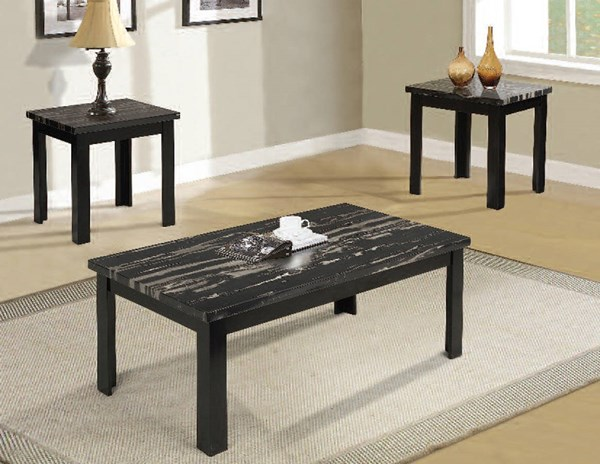 Blythe Black Wood Faux Marble 3pc Pack Coffee Table Set ACM-80855