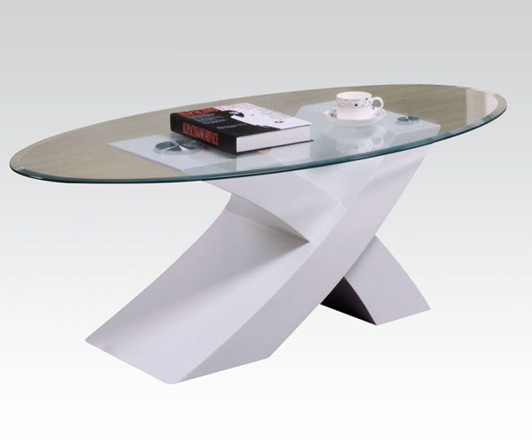 Pervis White Wood Oval Glass Coffee Table ACM-80860