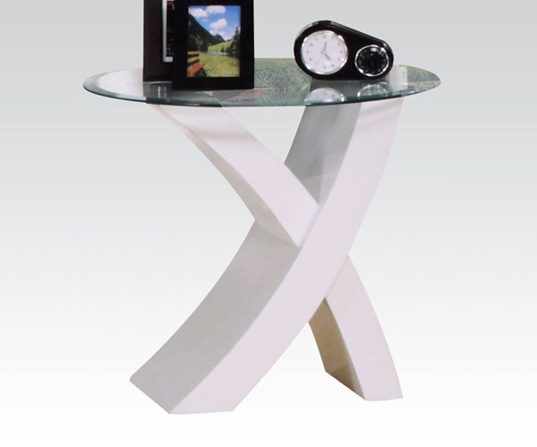 Pervis White Wood Oval Tempered Glass Top End Table ACM-80862