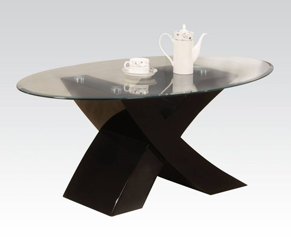 Pervis Black Wood Oval Glass Coffee Table ACM-80865
