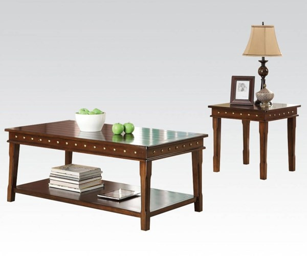 Mitra Walnut Wood 3pc Pack Coffee Table Set ACM-80870