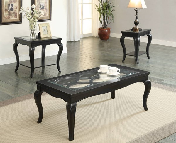 Sharlie Black Wood Tempered Glass Coffee Table Set ACM-80905-OCT