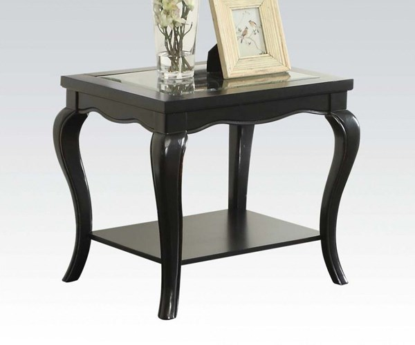 Sharlie Black Wood Tempered Glass End Table ACM-80906
