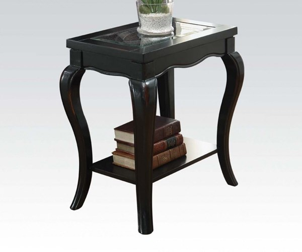 Sharlie Black Wood Tempered Glass Side Table ACM-80907