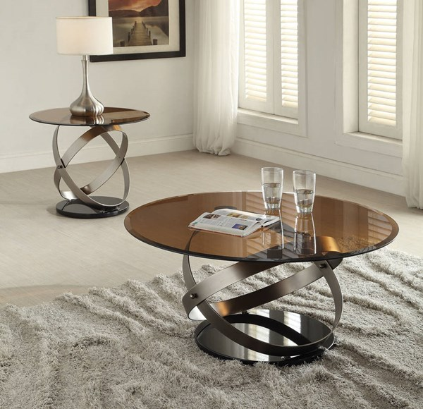 Olly Black Tempered Glass Metal Coffee Table Set ACM-8092-OCT