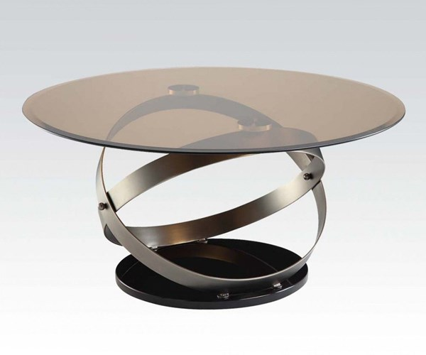 Olly Black Tempered Glass Metal Coffee Table ACM-80925