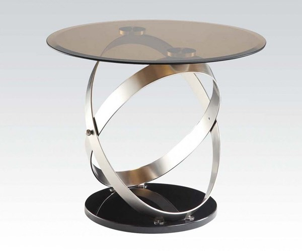 Olly Black Tempered Glass Metal End Table ACM-80927
