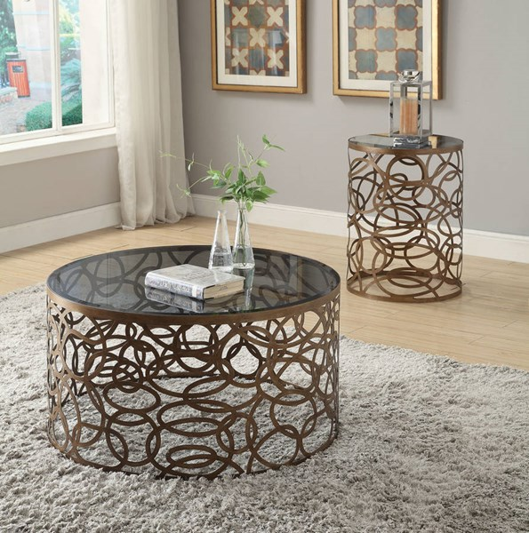 Anya Antique Brass Glass Metal Coffee Table Set ACM-80935-OCT