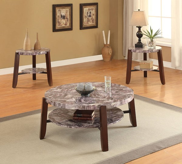Lilith Cherry Faux Marble Wood Round Coffee Table Set ACM-8095-OCT