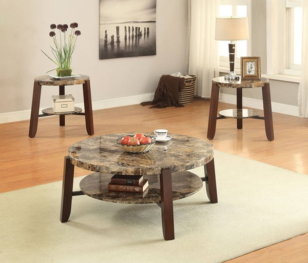 Lilith Cherry Faux Marble Wood 3pc Coffee Table Set ACM-8095-OCT-S2