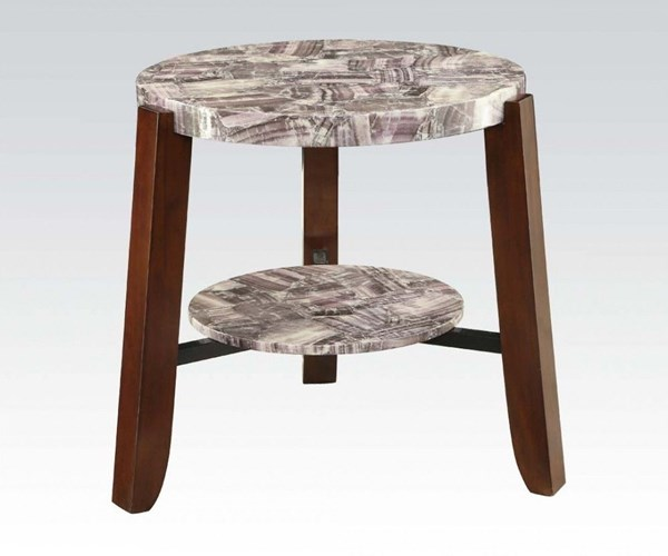 Lilith Cherry Faux Marble Wood Round End Table ACM-80956