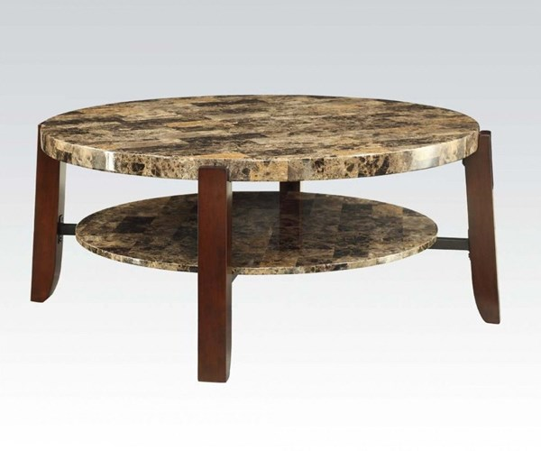 Lilith Cherry Faux Marble Wood Coffee Table ACM-80957