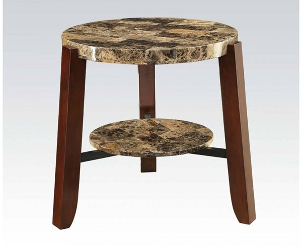 Lilith Cherry Faux Marble Wood End Table ACM-80958