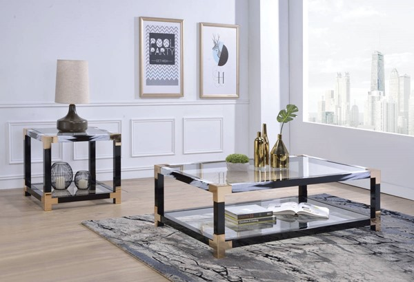Acme Furniture Lafty White Black 3pc Coffee Table Set ACM-810-OCT-S1