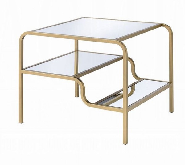 Acme Furniture Astrid Gold Mirror End Table ACM-81092
