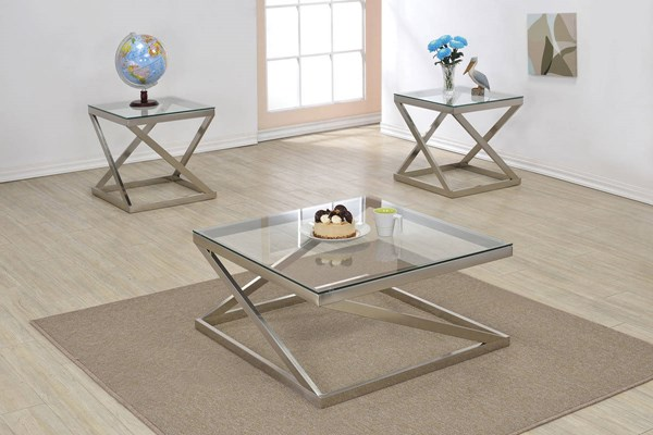 Ollie Brushed Nickel Metal Glass 3pc Coffee Table Set ACM-8114-OCT-S