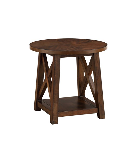 Acme Furniture Kayson Walnut Wood Veneer Round End Table ACM-81237