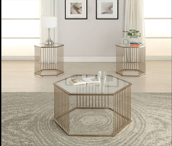 Oaklie Champagne Glass Metal 3pc Coffee Table Set ACM-8124-OCT-S