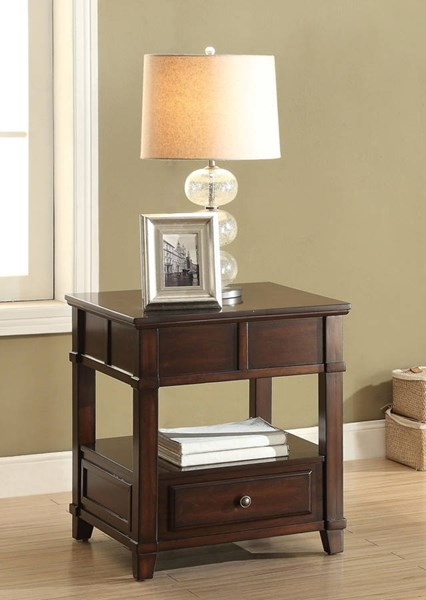Orville Walnut Drawer & Top Shelf Square End Table ACM-81252