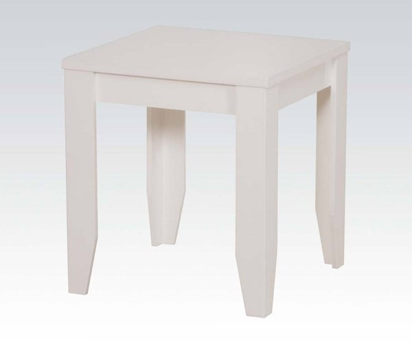 Carol White Wood High Gloss Square End Table ACM-81347