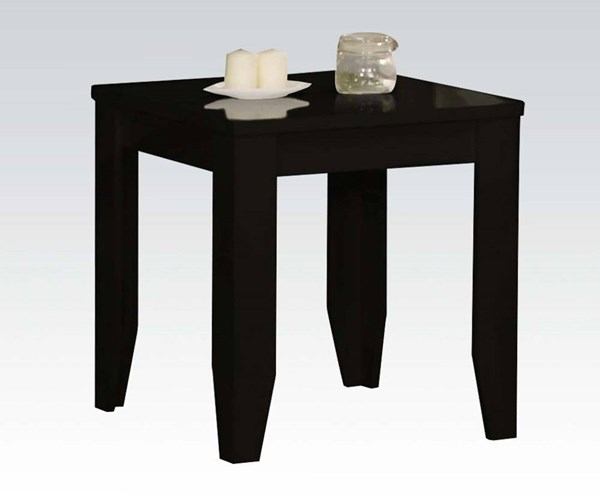 Gideon Black Wood High Gloss Square End Table ACM-81352