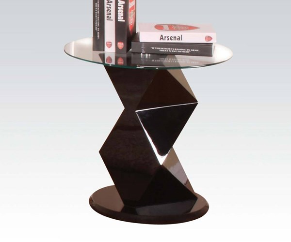 Taksha Black Wood 8 mm Clear Tempered Glass Top Round End Table ACM-81368