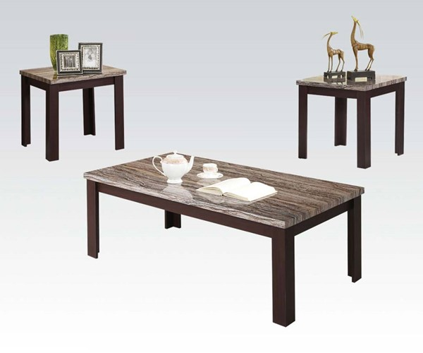 Carly Cherry Faux Marble Wood Rectangle 3pc Pack Coffee Table Set ACM-81400