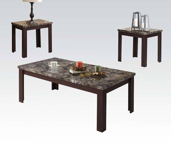 Carly Cherry Wood Faux Marble Rectangle 3pc Pack Coffee Table Set ACM-81402
