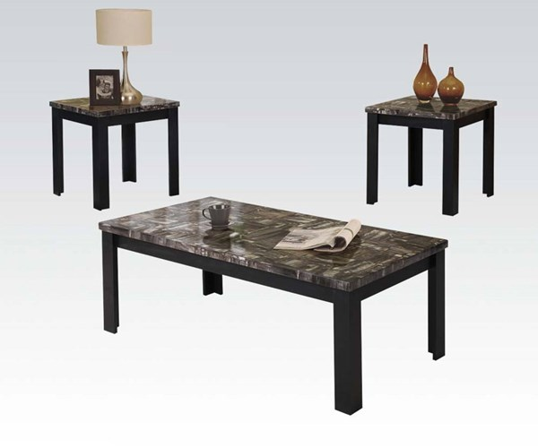 Carly Black Faux Marble Wood 3pc Pack Coffee Table Set ACM-81404