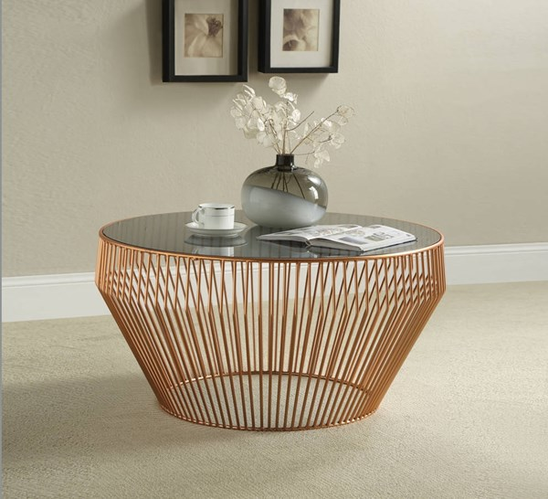 Camry Smoky Glass Copper Metal Coffee Table ACM-81435