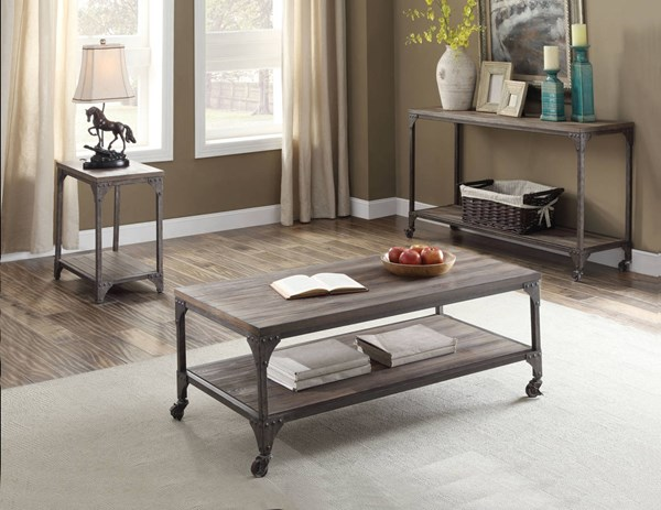 Gorden Weathered Oak Pine MDF Antique Silver Iron 3pc Coffee Table Set ACM-8144-OCT-S1
