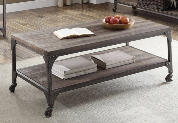 Gorden Weathered Oak Pine MDF Antique Silver Iron Coffee Table ACM-81445