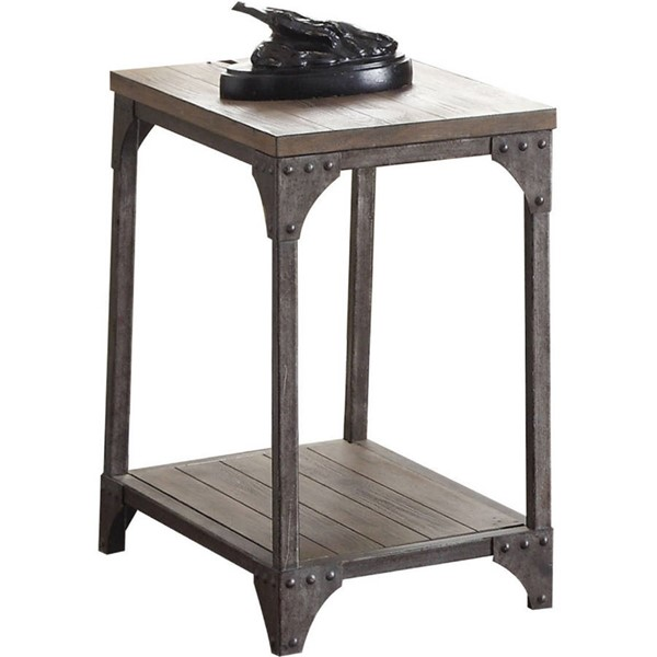 Acme Furniture Gorden Weathered Oak Antique Nickel End Table ACM-81447